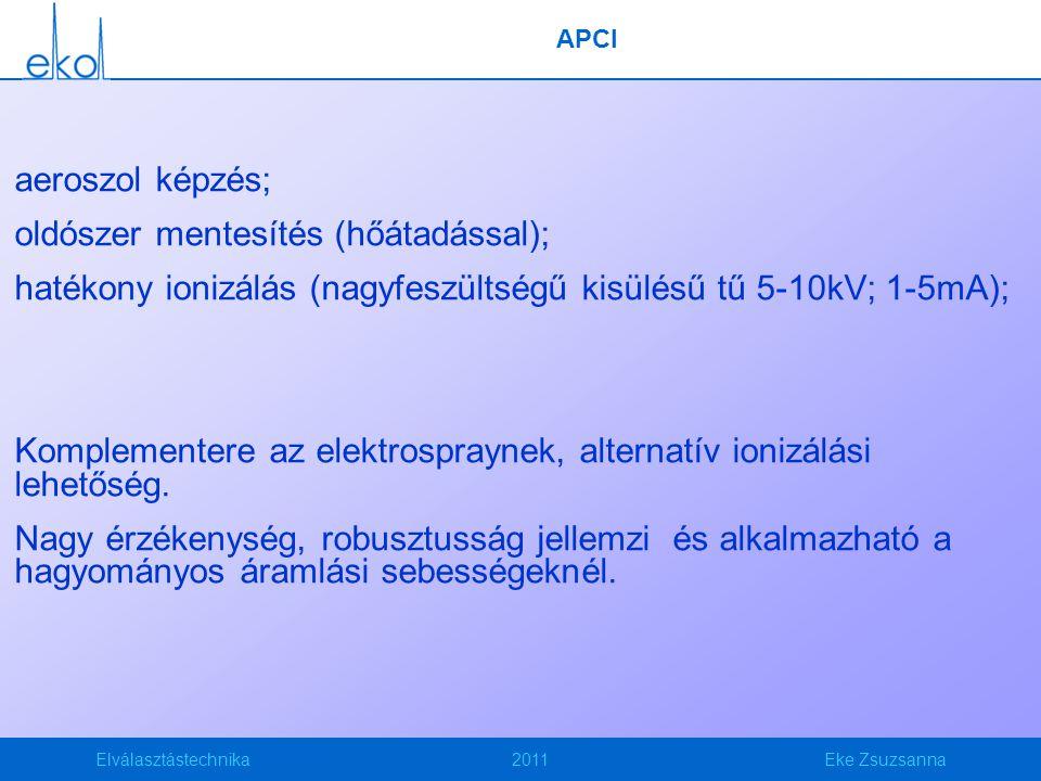 Elválasztástechnika2011Eke Zsuzsanna APCI aeroszol képzés; oldószer mentesítés (hőátadással); hatékony ionizálás (nagyfeszültségű kisülésű tű 5-10kV; 1-5mA); Komplementere az elektrospraynek, alternatív ionizálási lehetőség.