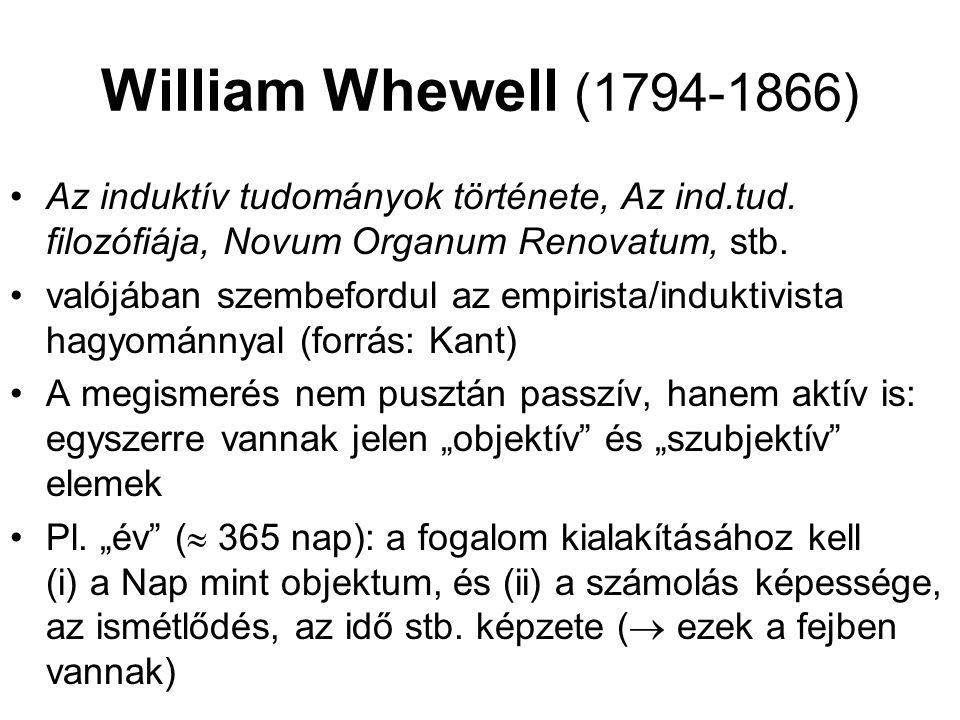 William Whewell (1794-1866) Az induktív tudományok története, Az ind.tud. filozófiája, Novum Organum Renovatum, stb. valójában szembefordul az empiris