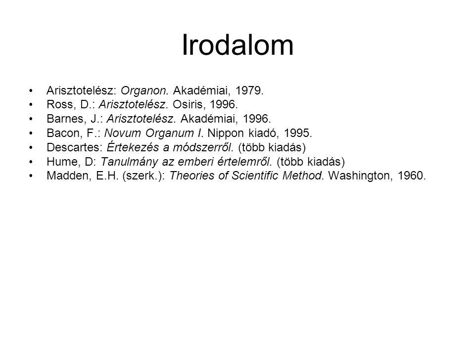 Irodalom Arisztotelész: Organon. Akadémiai, 1979. Ross, D.: Arisztotelész. Osiris, 1996. Barnes, J.: Arisztotelész. Akadémiai, 1996. Bacon, F.: Novum