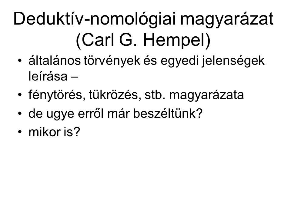 Deduktív-nomológiai magyarázat (Carl G. Hempel) általános törvények és egyedi jelenségek leírása – fénytörés, tükrözés, stb. magyarázata de ugye erről