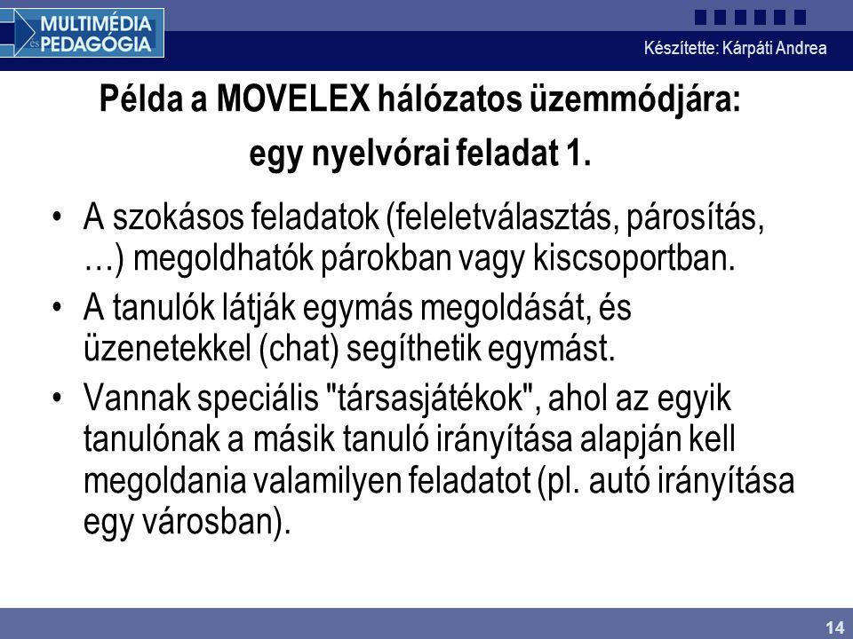 Készítette: Kárpáti Andrea 14 Példa a MOVELEX hálózatos üzemmódjára: egy nyelvórai feladat 1. A szokásos feladatok (feleletválasztás, párosítás, …) me