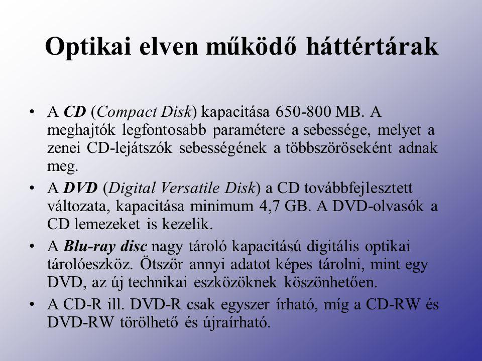 Optikai elven működő háttértárak A CD (Compact Disk) kapacitása 650-800 MB. A meghajtók legfontosabb paramétere a sebessége, melyet a zenei CD-lejátsz