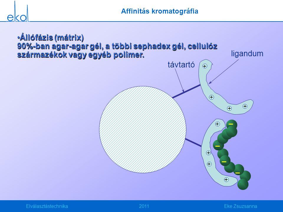 Elválasztástechnika2011Eke Zsuzsanna Állófázis (mátrix) 90%-ban agar-agar gél, a többi sephadex gél, cellulóz származékok vagy egyéb polimer.Állófázis