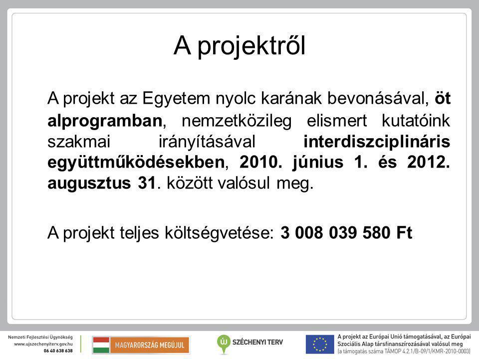 A projektről A projekt az Egyetem nyolc karának bevonásával, öt alprogramban, nemzetközileg elismert kutatóink szakmai irányításával interdiszciplináris együttműködésekben, 2010.