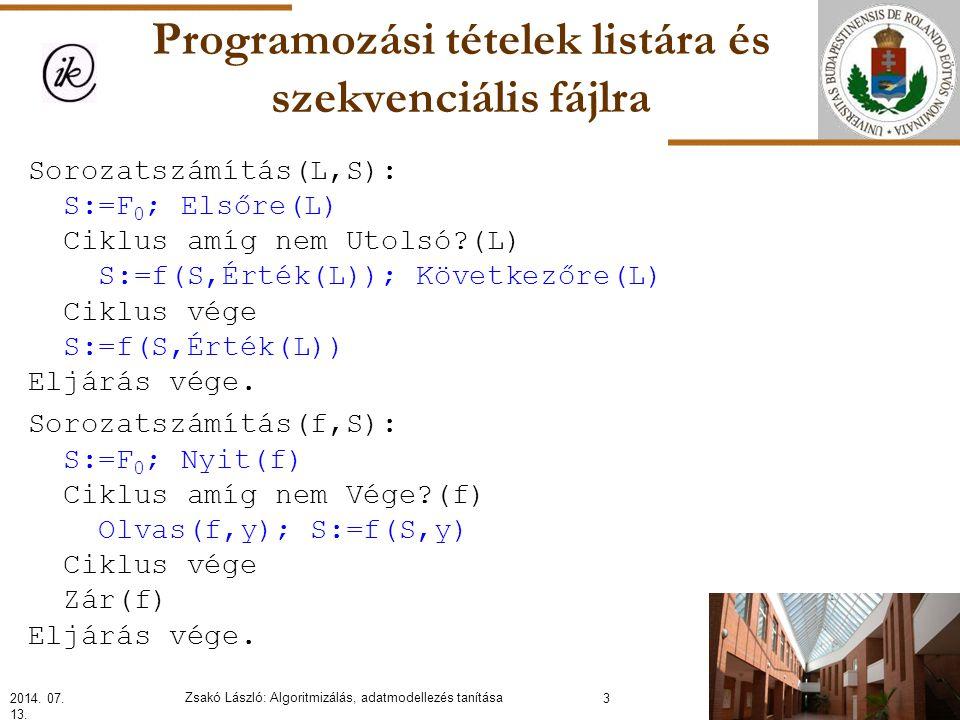 Programozási tételek listára és szekvenciális fájlra Sorozatszámítás(L,S): S:=F 0 ; Elsőre(L) Ciklus amíg nem Utolsó?(L) S:=f(S,Érték(L)); Következőre(L) Ciklus vége S:=f(S,Érték(L)) Eljárás vége.
