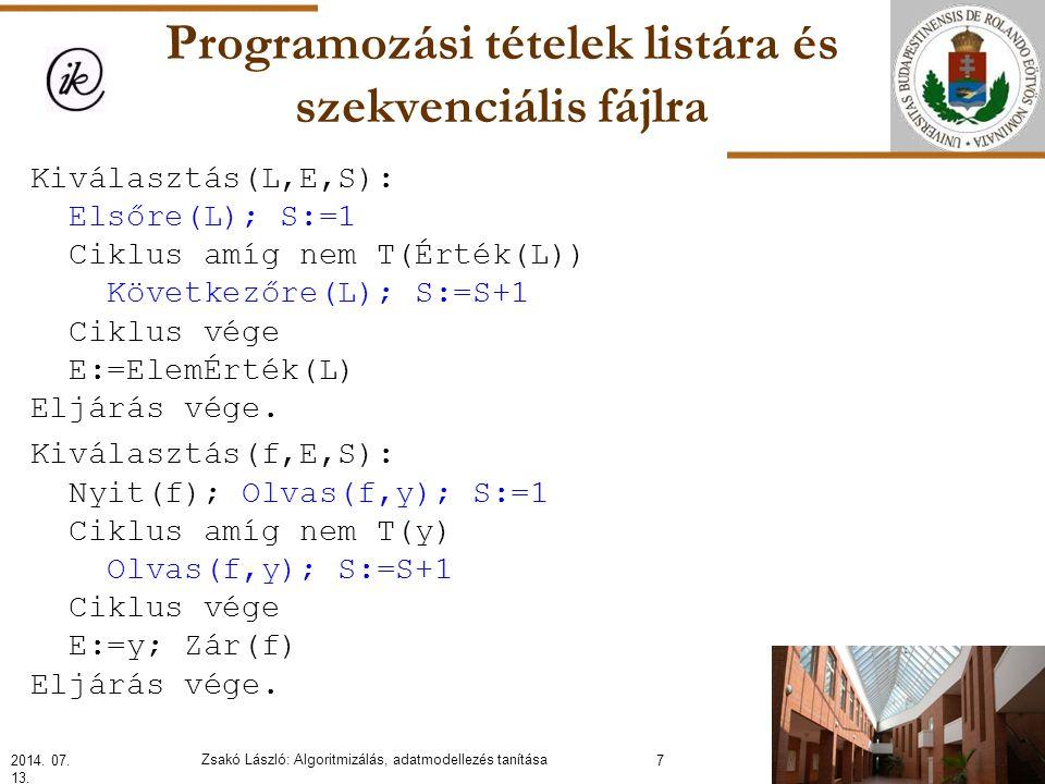 Programozási tételek listára és szekvenciális fájlra Kiválasztás(L,E,S): Elsőre(L); S:=1 Ciklus amíg nem T(Érték(L)) Következőre(L); S:=S+1 Ciklus vége E:=ElemÉrték(L) Eljárás vége.
