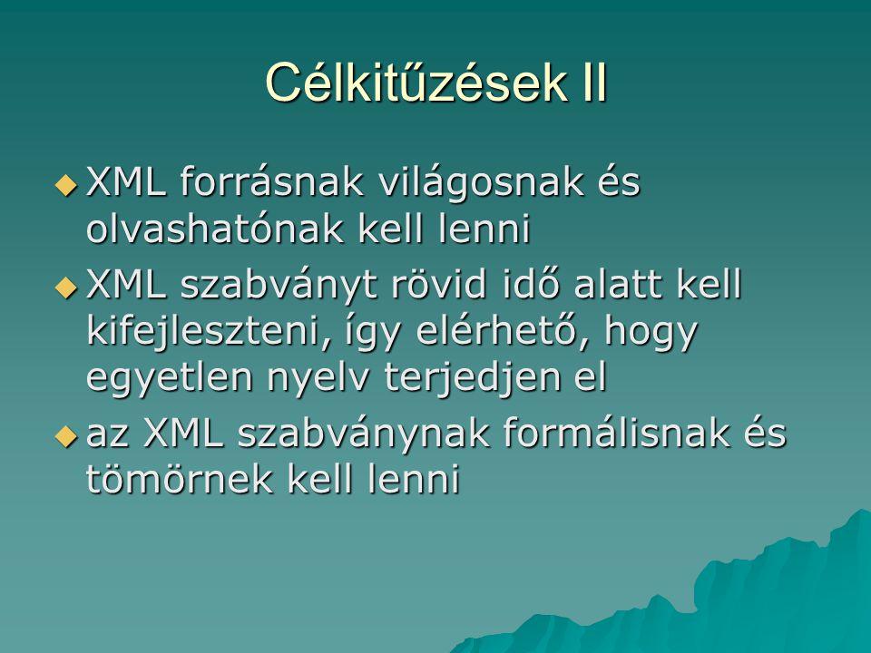Célkitűzések II  XML forrásnak világosnak és olvashatónak kell lenni  XML szabványt rövid idő alatt kell kifejleszteni, így elérhető, hogy egyetlen nyelv terjedjen el  az XML szabványnak formálisnak és tömörnek kell lenni