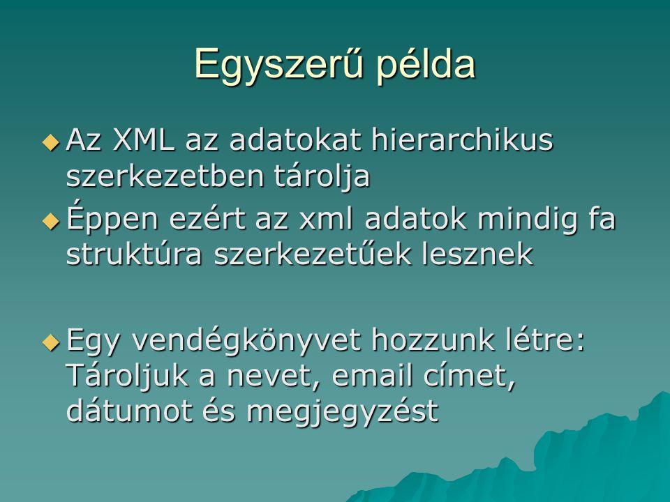 Egyszerű példa  Az XML az adatokat hierarchikus szerkezetben tárolja  Éppen ezért az xml adatok mindig fa struktúra szerkezetűek lesznek  Egy vendégkönyvet hozzunk létre: Tároljuk a nevet, email címet, dátumot és megjegyzést
