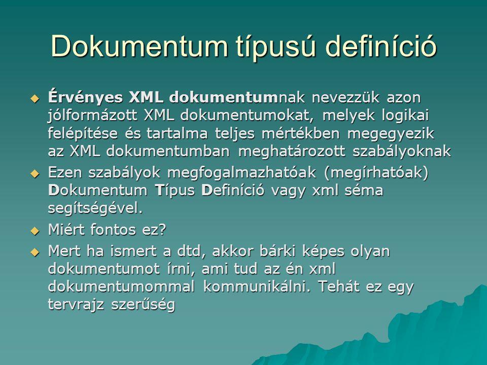 Dokumentum típusú definíció  Érvényes XML dokumentumnak nevezzük azon jólformázott XML dokumentumokat, melyek logikai felépítése és tartalma teljes mértékben megegyezik az XML dokumentumban meghatározott szabályoknak  Ezen szabályok megfogalmazhatóak (megírhatóak) Dokumentum Típus Definíció vagy xml séma segítségével.