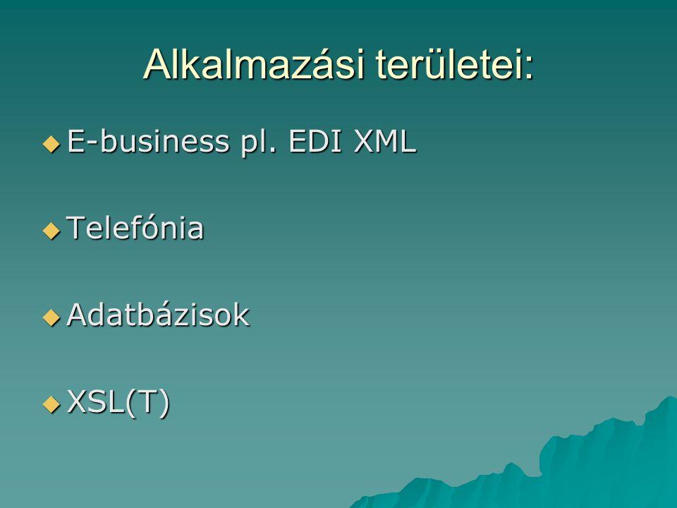 Alkalmazási területei:  E-business pl. EDI XML  Telefónia  Adatbázisok  XSL(T)