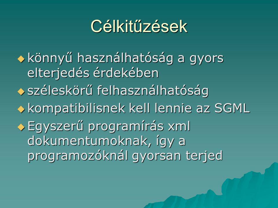 Célkitűzések  könnyű használhatóság a gyors elterjedés érdekében  széleskörű felhasználhatóság  kompatibilisnek kell lennie az SGML  Egyszerű programírás xml dokumentumoknak, így a programozóknál gyorsan terjed