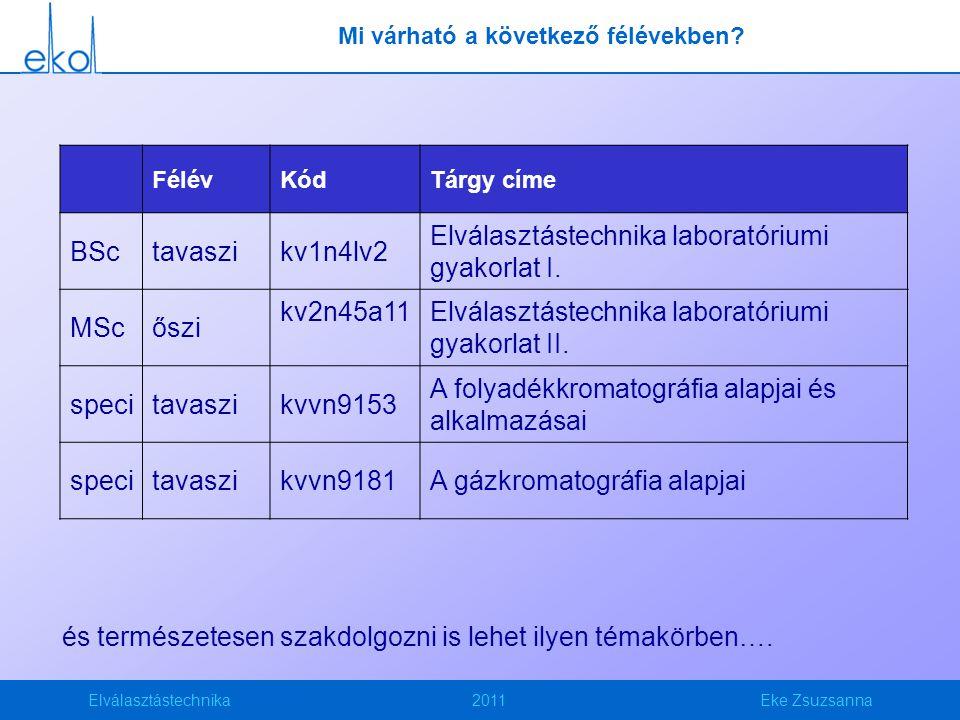 Elválasztástechnika2011Eke Zsuzsanna Kromatográfia Olyan módszerek, ill.