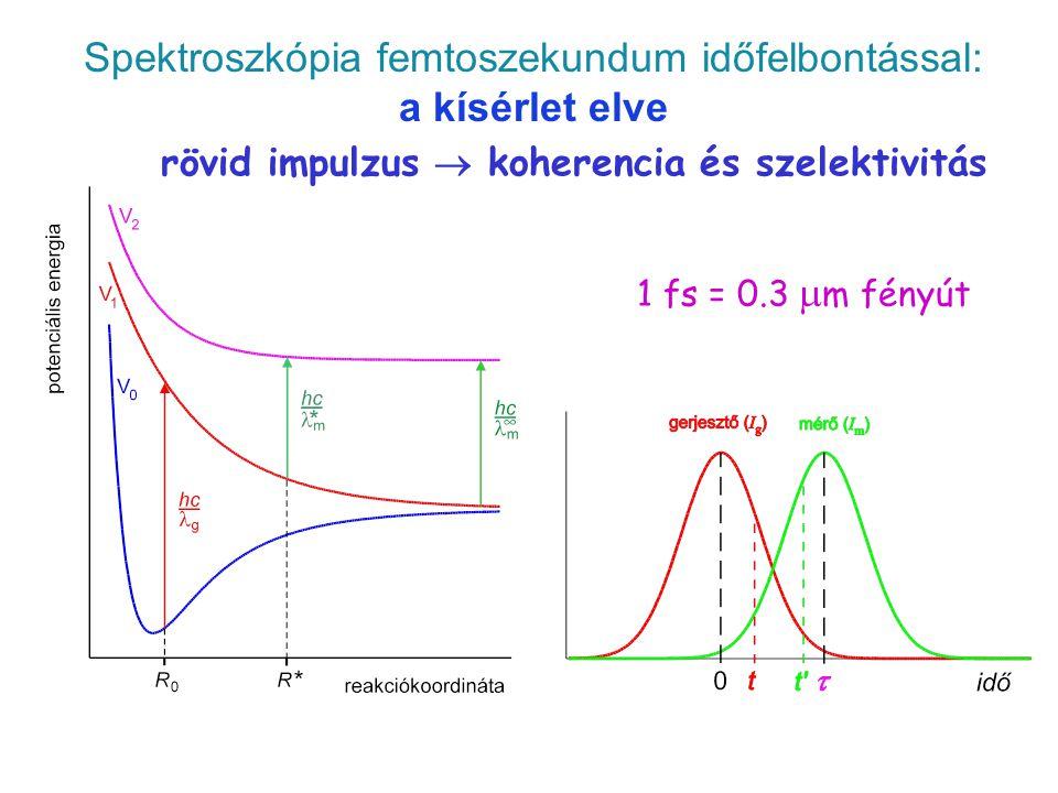 Spektroszkópia femtoszekundum időfelbontással: a kísérlet elve 1 fs = 0.3  m fényút rövid impulzus  koherencia és szelektivitás pump-probe 5