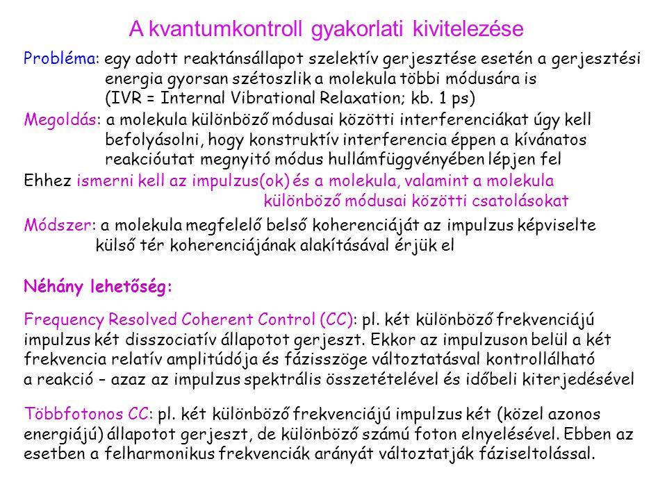A kvantumkontroll gyakorlati kivitelezése Probléma: egy adott reaktánsállapot szelektív gerjesztése esetén a gerjesztési energia gyorsan szétoszlik a