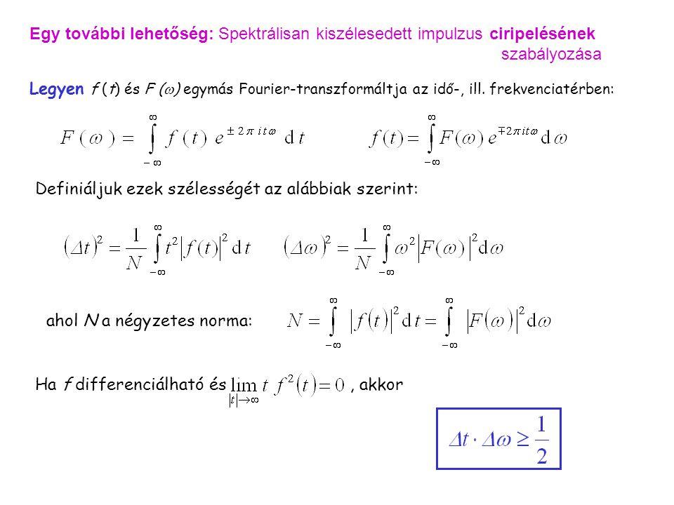 Egy további lehetőség: Spektrálisan kiszélesedett impulzus ciripelésének szabályozása Legyen f (t) és F (  ) egymás Fourier-transzformáltja az idő-,