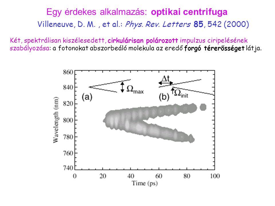 Egy érdekes alkalmazás: optikai centrifuga Két, spektrálisan kiszélesedett, cirkulárisan polározott impulzus ciripelésének szabályozása: a fotonokat a