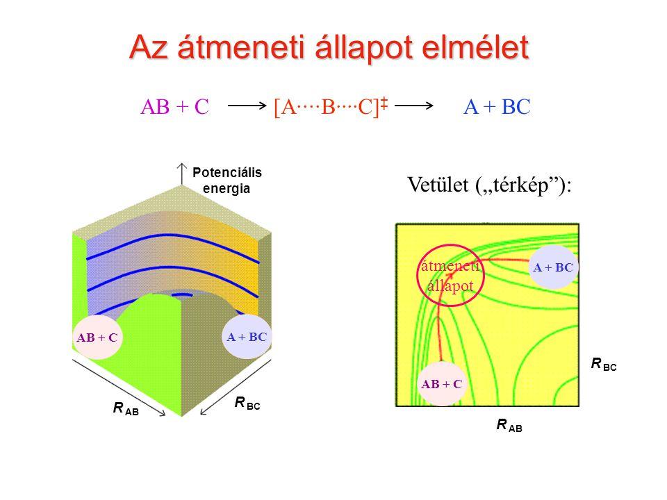 """Átmeneti állapot Az átmeneti állapot elmélet AB + CA + BC Potenciális energia R BC R AB R BC Vetület (""""térkép""""): átmeneti állapot [A····B····C] ‡ AB +"""