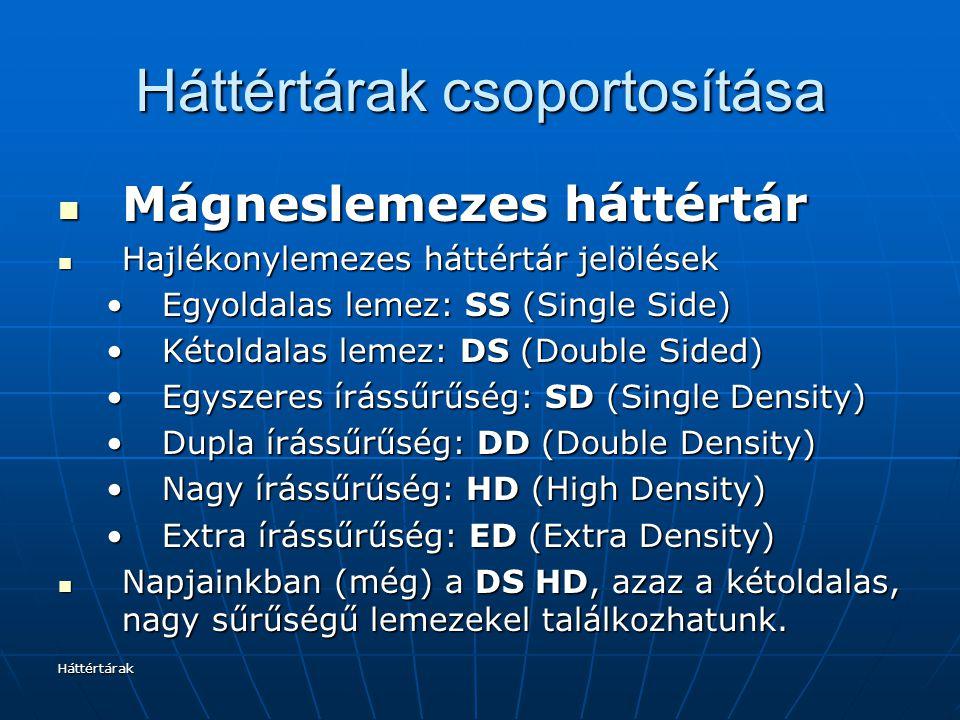 Háttértárak Háttértárak csoportosítása Mágneslemezes háttértár Mágneslemezes háttértár Hajlékonylemezes háttértár jelölések Hajlékonylemezes háttértár jelölések Egyoldalas lemez: SS (Single Side)Egyoldalas lemez: SS (Single Side) Kétoldalas lemez: DS (Double Sided)Kétoldalas lemez: DS (Double Sided) Egyszeres írássűrűség: SD (Single Density)Egyszeres írássűrűség: SD (Single Density) Dupla írássűrűség: DD (Double Density)Dupla írássűrűség: DD (Double Density) Nagy írássűrűség: HD (High Density)Nagy írássűrűség: HD (High Density) Extra írássűrűség: ED (Extra Density)Extra írássűrűség: ED (Extra Density) Napjainkban (még) a DS HD, azaz a kétoldalas, nagy sűrűségű lemezekel találkozhatunk.