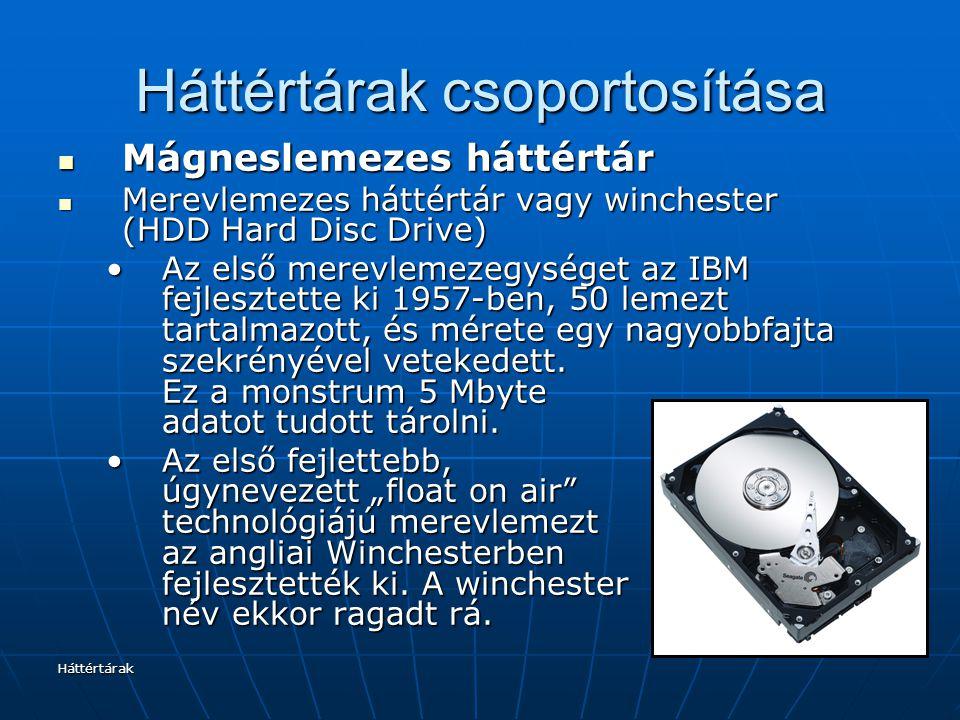 Háttértárak Háttértárak csoportosítása Mágneslemezes háttértár Mágneslemezes háttértár Merevlemezes háttértár vagy winchester (HDD Hard Disc Drive) Merevlemezes háttértár vagy winchester (HDD Hard Disc Drive) Az első merevlemezegységet az IBM fejlesztette ki 1957-ben, 50 lemezt tartalmazott, és mérete egy nagyobbfajta szekrényével vetekedett.