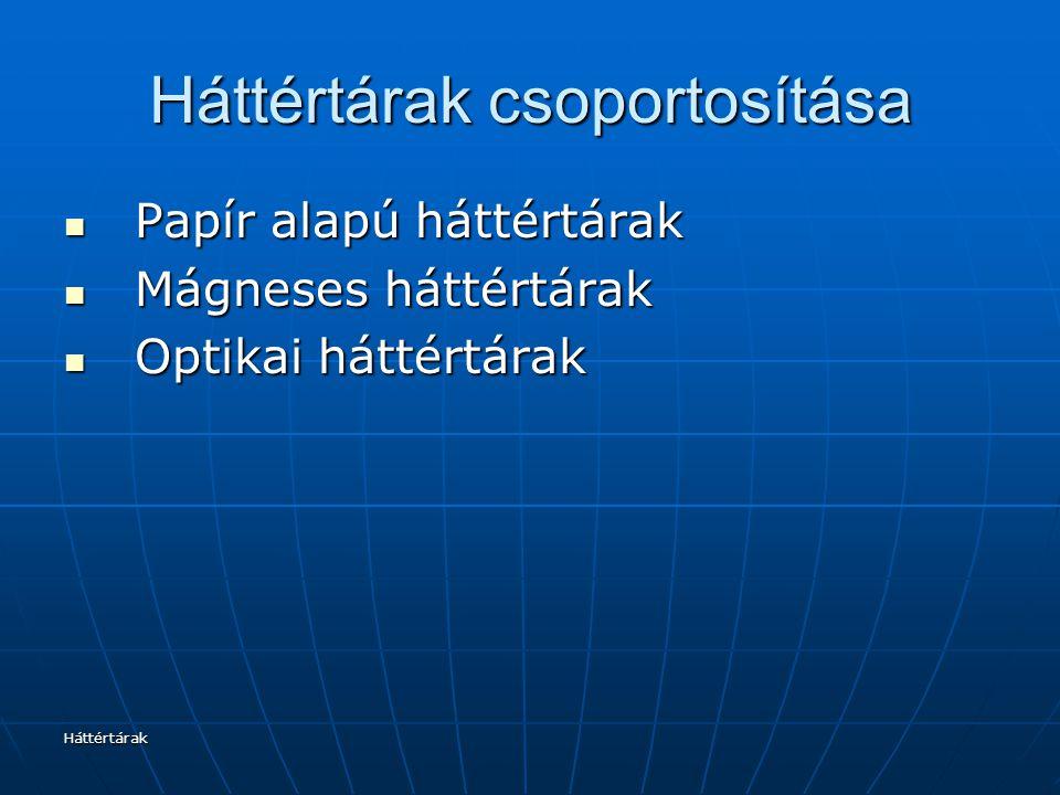 Háttértárak Háttértárak csoportosítása Papír alapú háttértárak Papír alapú háttértárak Mágneses háttértárak Mágneses háttértárak Optikai háttértárak Optikai háttértárak
