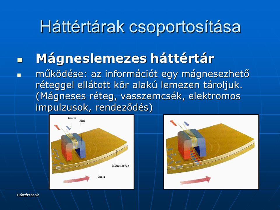 Háttértárak Háttértárak csoportosítása Mágneslemezes háttértár Mágneslemezes háttértár működése: az információt egy mágnesezhető réteggel ellátott kör alakú lemezen tároljuk.