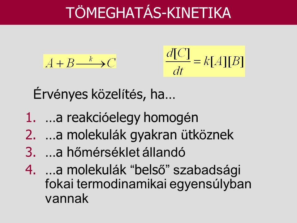 """T Ö MEGHAT Á S-KINETIKA 1.…a reakci ó elegy homog é n 2.…a molekul á k gyakran ü tk ö znek 3.…a h őmérséklet állandó 4.…a molekul á k """" bels ő"""" szabad"""