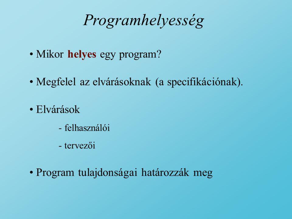 Programhelyesség Mikor helyes egy program.Megfelel az elvárásoknak (a specifikációnak).