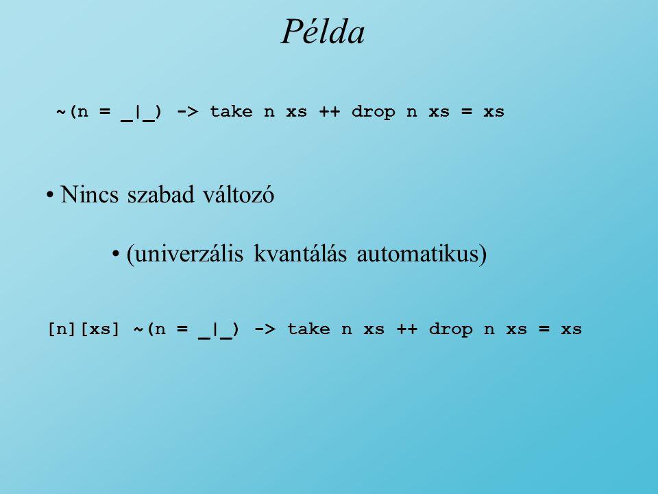 Példa ~(n = _|_) -> take n xs ++ drop n xs = xs Nincs szabad változó (univerzális kvantálás automatikus) [n][xs] ~(n = _|_) -> take n xs ++ drop n xs = xs