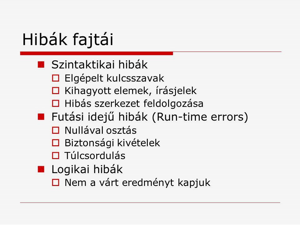 Hibák fajtái Szintaktikai hibák  Elgépelt kulcsszavak  Kihagyott elemek, írásjelek  Hibás szerkezet feldolgozása Futási idejű hibák (Run-time error