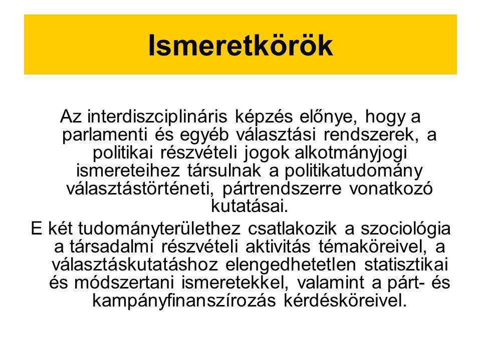 Ismeretkörök Az interdiszciplináris képzés előnye, hogy a parlamenti és egyéb választási rendszerek, a politikai részvételi jogok alkotmányjogi ismere