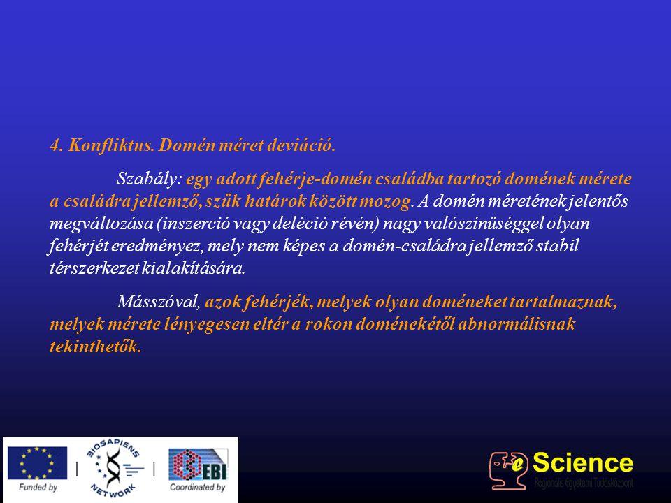 4. Konfliktus. Domén méret deviáció. Szabály: egy adott fehérje-domén családba tartozó domének mérete a családra jellemző, szűk határok között mozog.