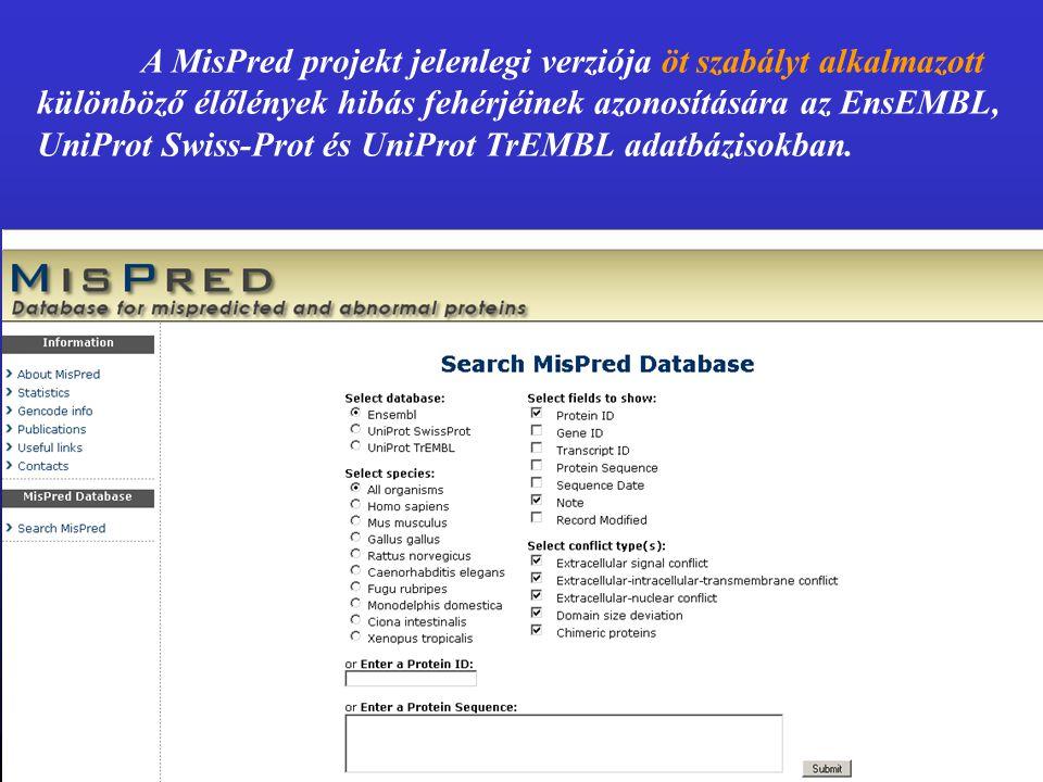 A MisPred projekt jelenlegi verziója öt szabályt alkalmazott különböző élőlények hibás fehérjéinek azonosítására az EnsEMBL, UniProt Swiss-Prot és UniProt TrEMBL adatbázisokban.