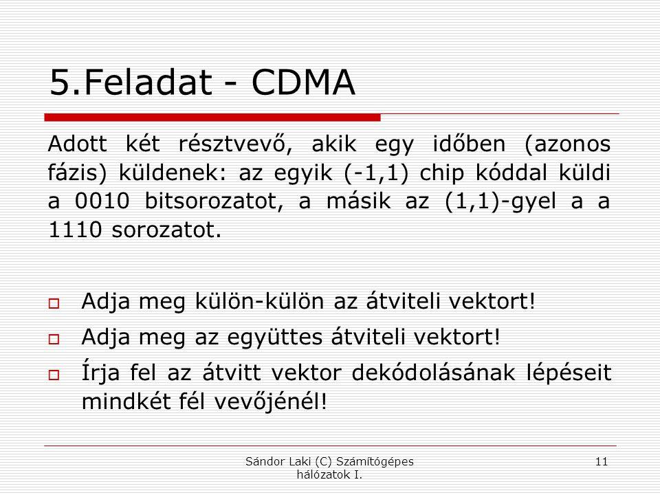 5.Feladat - CDMA Adott két résztvevő, akik egy időben (azonos fázis) küldenek: az egyik (-1,1) chip kóddal küldi a 0010 bitsorozatot, a másik az (1,1)-gyel a a 1110 sorozatot.