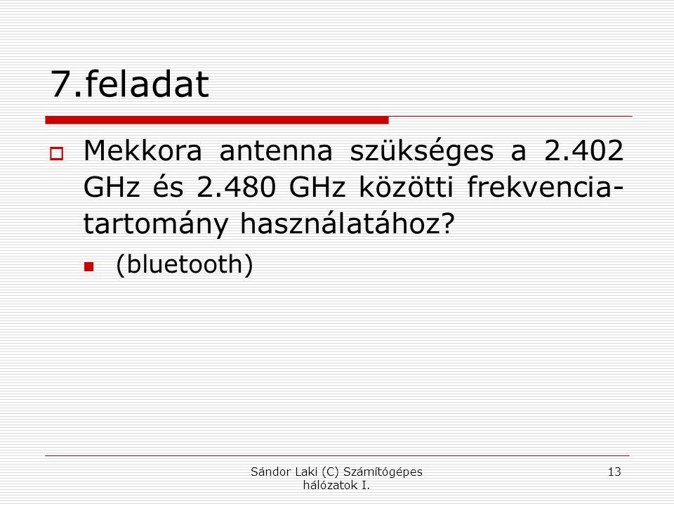 7.feladat  Mekkora antenna szükséges a 2.402 GHz és 2.480 GHz közötti frekvencia- tartomány használatához.
