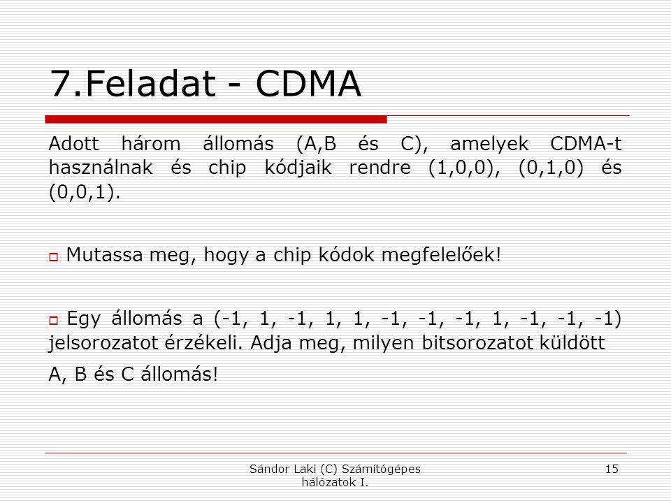 7.Feladat - CDMA Adott három állomás (A,B és C), amelyek CDMA-t használnak és chip kódjaik rendre (1,0,0), (0,1,0) és (0,0,1).