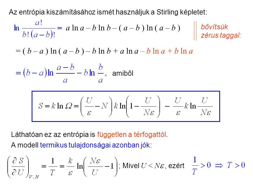 Kétállapotú molekulák Mechanikai szempontból tehát az Einstein kristálymodell nem használható Kétállapotú molekulák Tekintsünk egy másik egyszerű péld