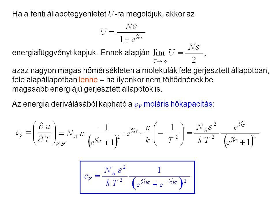 Láthatóan ez az entrópia is független a térfogattól. ; Mivel U < N , ezért bővítsük zérus taggal: Kétállapotú molekulák 2 amiből A modell termikus tu