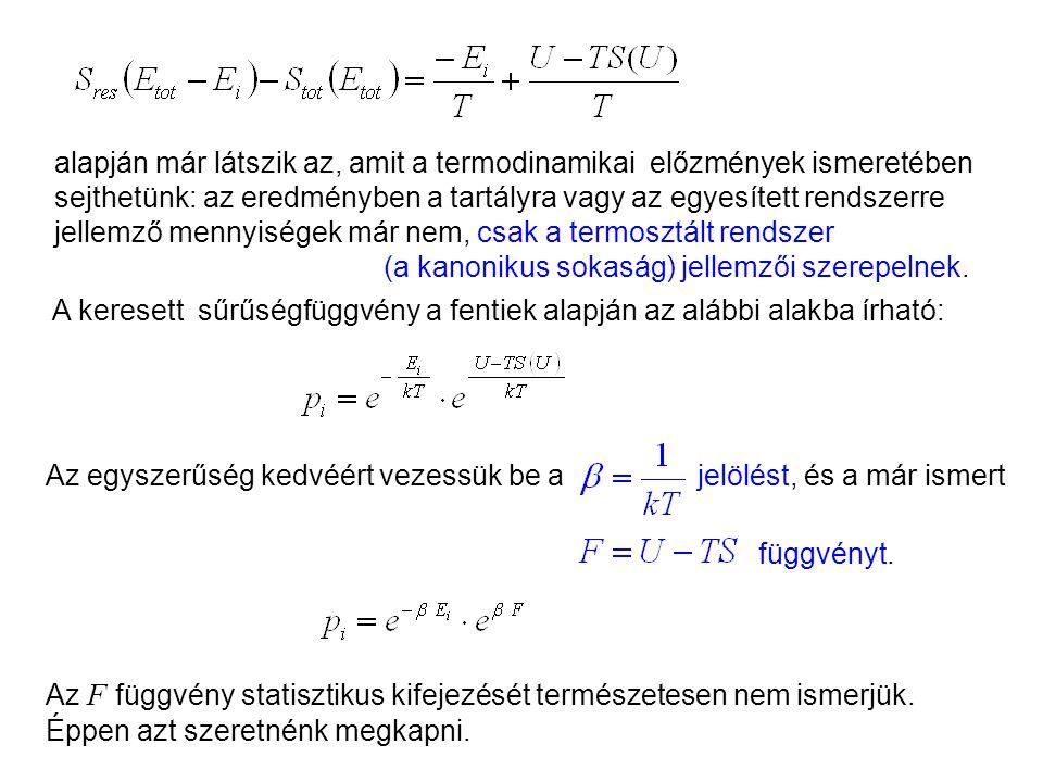 S res és S tot fenti két kifejezését helyettesítsük be a p i kitevőjébe: Kanonikus sokaság 6 Az entrópia additivitása miatt felírható: A termodinamiká