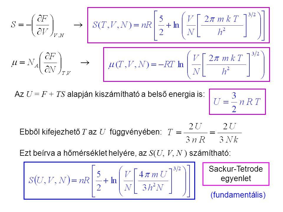 Ideális gázok 8 Ebből most már ki tudjuk számítani az ideális gáz fundamentális egyenletét. Tudjuk:Ebből