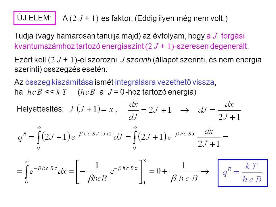 Rotációs partíciós függvény Az U – ból könnyen kapható C V is: Láttuk tehát, milyen hatékony eszköz a kanonikus sokaság. A lineáris rotor rotációs áll