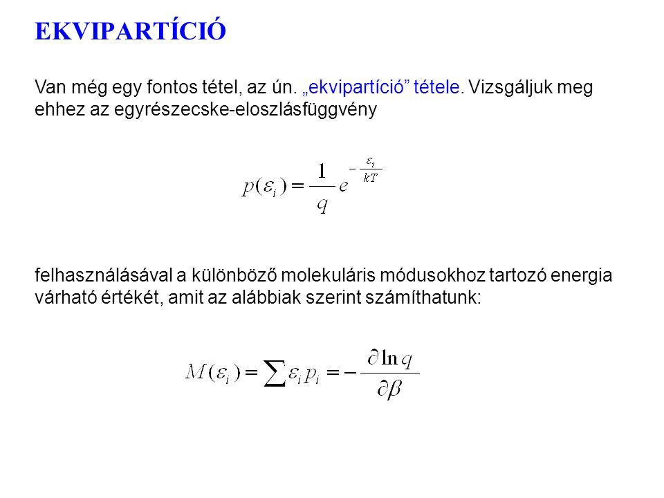 Az egyrészecske-energia kanonikus sűrűségfüggvénye 1 Ugyanakkor a (nem degenerált) molekuláris energiaállapotok betöltöttségére érvényes az exponenciá