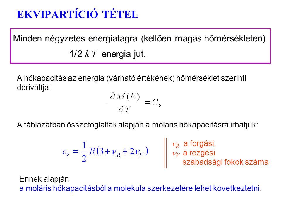 Ekvipartíció 4 Hasonlítsuk most össze az energia klasszikus kifejezését a részecskeenergia várható értékével: Általánosítás: minden négyzetes energiat