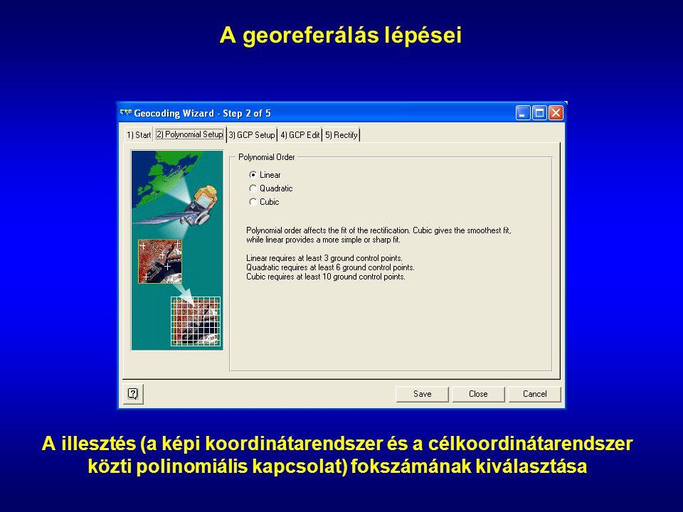 A georeferálás lépései A illesztés (a képi koordinátarendszer és a célkoordinátarendszer közti polinomiális kapcsolat) fokszámának kiválasztása