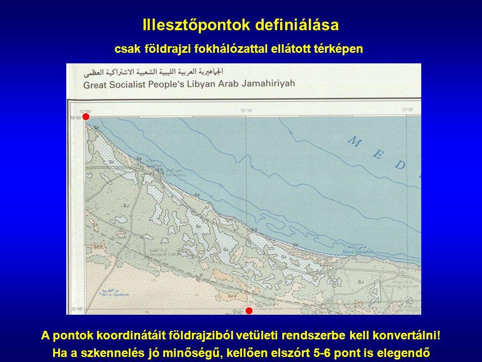 Illesztőpontok definiálása csak földrajzi fokhálózattal ellátott térképen A pontok koordinátáit földrajziból vetületi rendszerbe kell konvertálni.