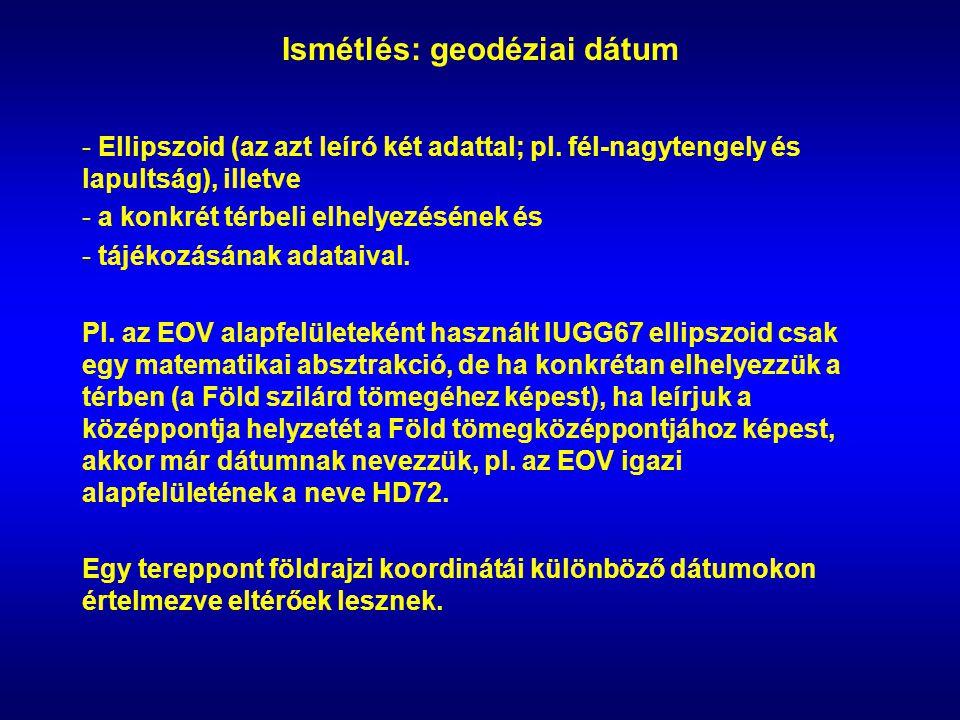 Ismétlés: geodéziai dátum - Ellipszoid (az azt leíró két adattal; pl.