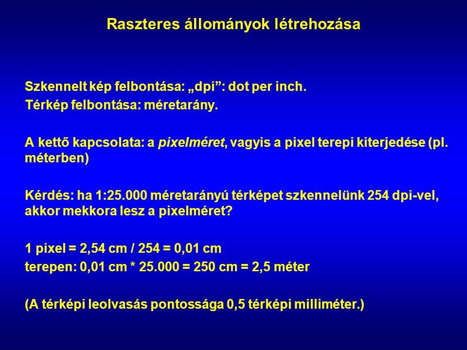 """Raszteres állományok létrehozása Szkennelt kép felbontása: """"dpi : dot per inch."""