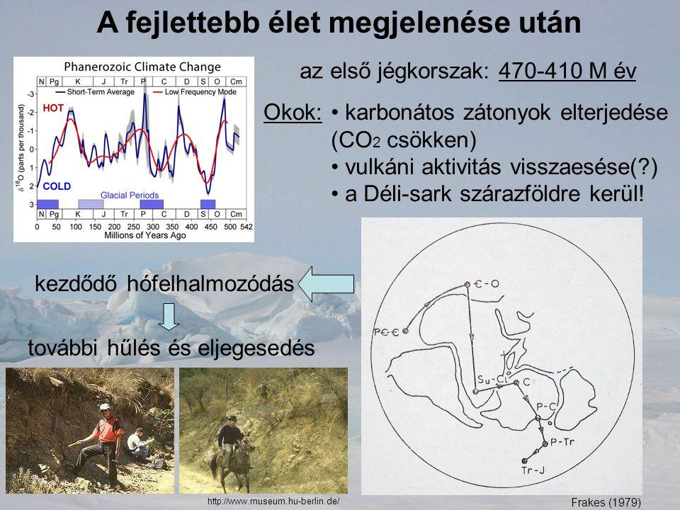 A fejlettebb élet megjelenése után az első jégkorszak: 470-410 M év Okok: karbonátos zátonyok elterjedése (CO 2 csökken) vulkáni aktivitás visszaesése