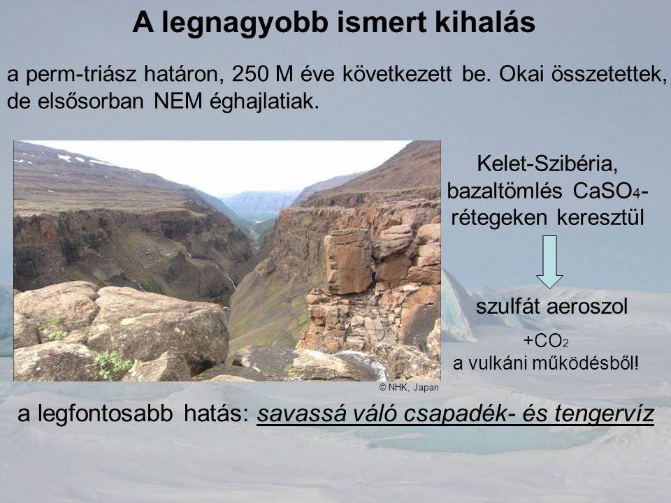 A legnagyobb ismert kihalás a perm-triász határon, 250 M éve következett be. Okai összetettek, de elsősorban NEM éghajlatiak. Kelet-Szibéria, bazaltöm