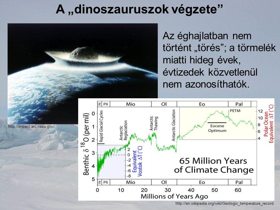 """A """"dinoszauruszok végzete"""" Az éghajlatban nem történt """"törés""""; a törmelék miatti hideg évek, évtizedek közvetlenül nem azonosíthatók. http://en.wikipe"""