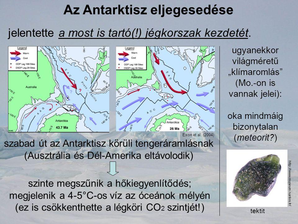 Az Antarktisz eljegesedése jelentette a most is tartó(!) jégkorszak kezdetét. szabad út az Antarktisz körüli tengeráramlásnak (Ausztrália és Dél-Ameri